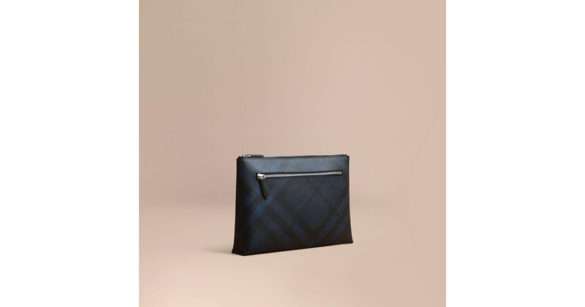 347a236353e2 Lyst - Burberry Large London Check Zip Pouch Navy black in Blue for Men