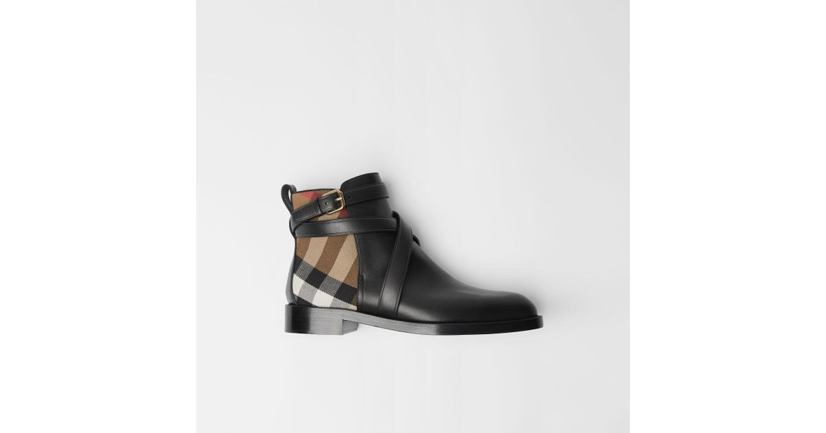 42c64f7e5162 Lyst - Burberry House Check And Leather Ankle Boots in Black