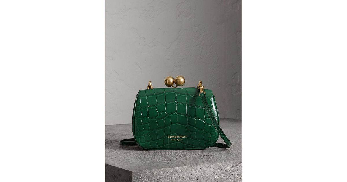 c034609b6aed Lyst - Burberry Small Alligator Frame Bag in Green