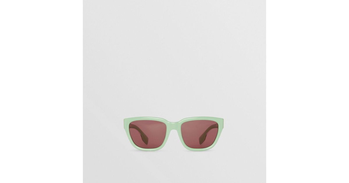 cc9b9640aaf Lyst - Burberry Square Frame Sunglasses in Green