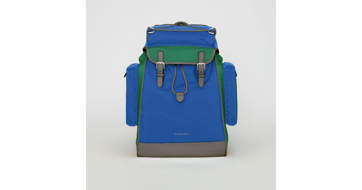 2b080207a29 Lyst - Burberry Tri-tone Nylon And Leather Backpack in Blue for Men