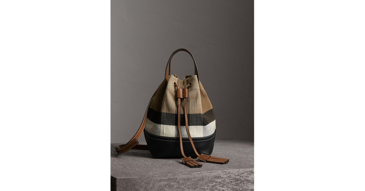 04facaa77a9a86 Burberry Small Canvas Check And Leather Bucket Bag - Lyst
