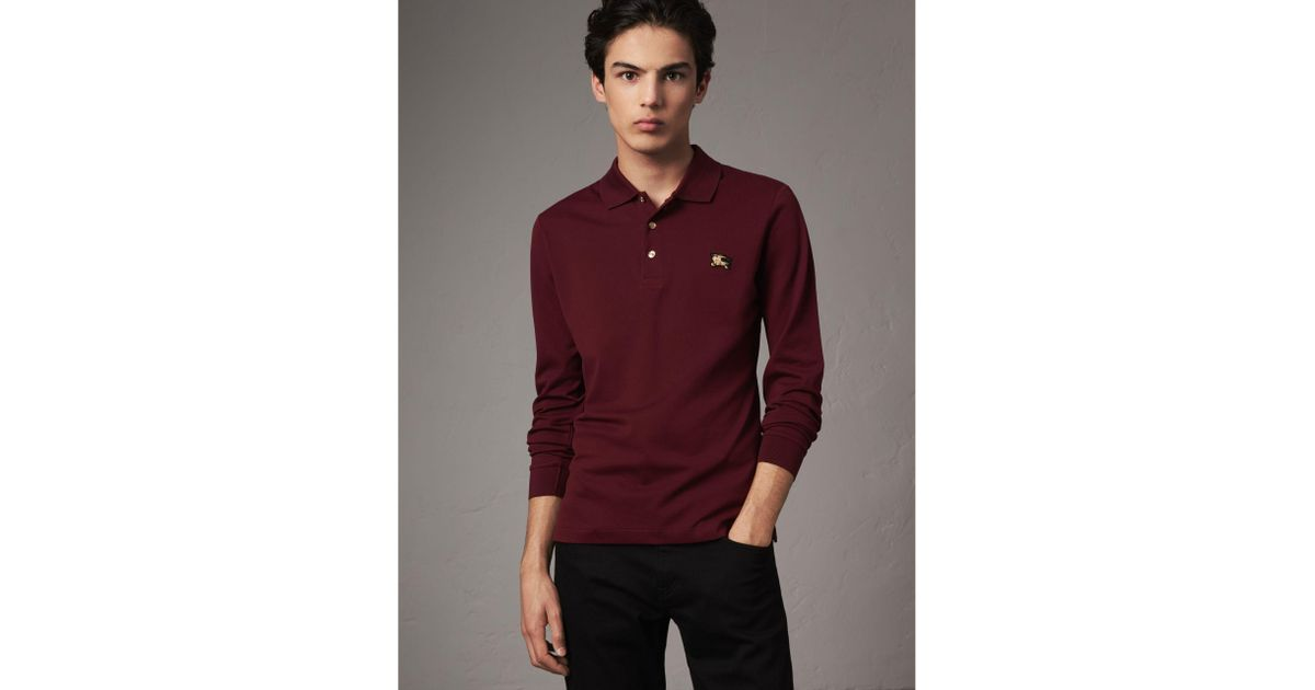 ef5752b92fd0 Lyst - Burberry Long-sleeve Cotton Piqué Polo Shirt in Red for Men