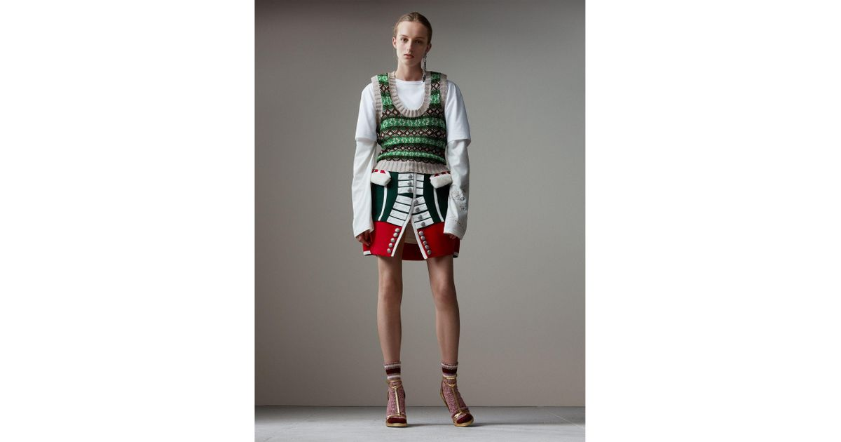 Lyst - Burberry Fair Isle Cashmere Wool Tank Top in Green