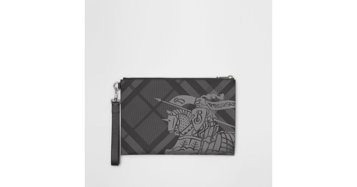 f37f873d6346 Burberry Ekd London Check Zip Pouch in Black for Men - Lyst