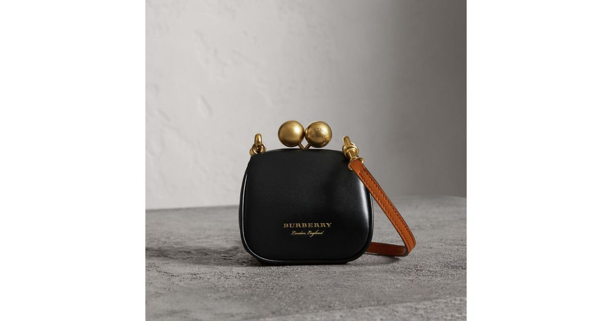 24ae007ead Burberry Mini Two-tone Leather Frame Bag in Black - Lyst