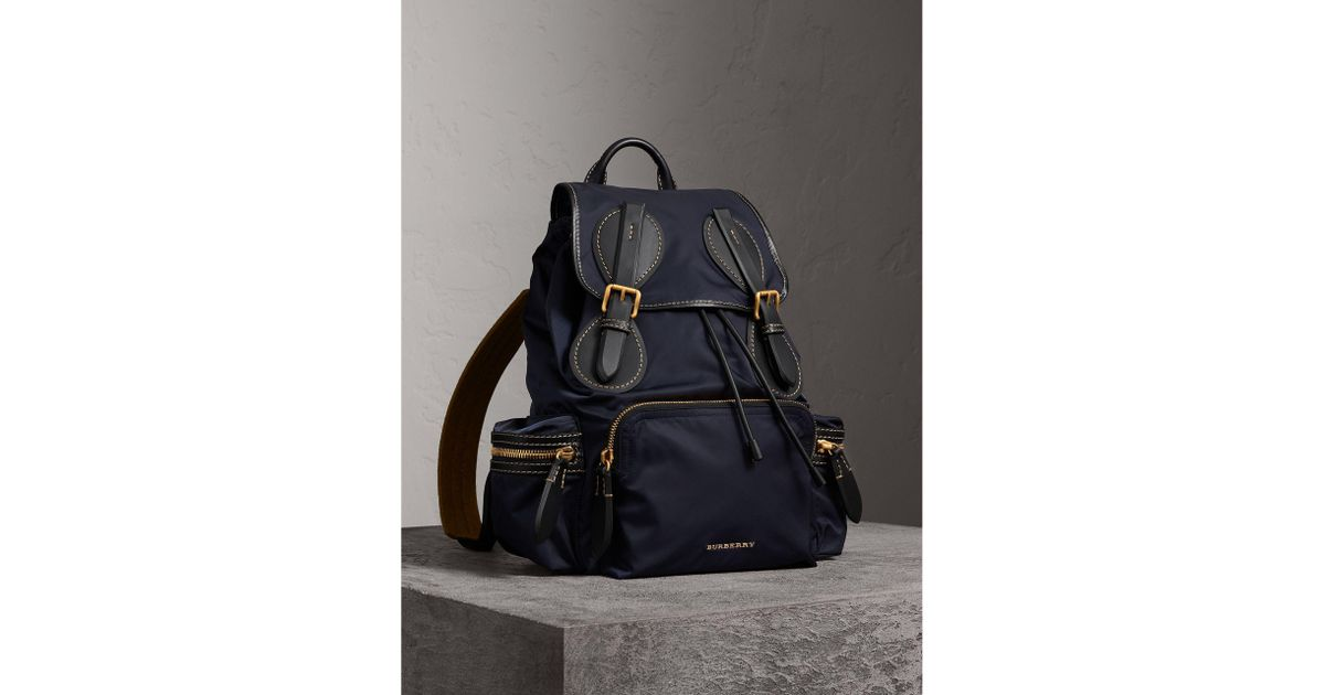 fc267cbe820c Burberry The Large Rucksack In Technical Nylon And Topstitched Leather in  Blue - Lyst