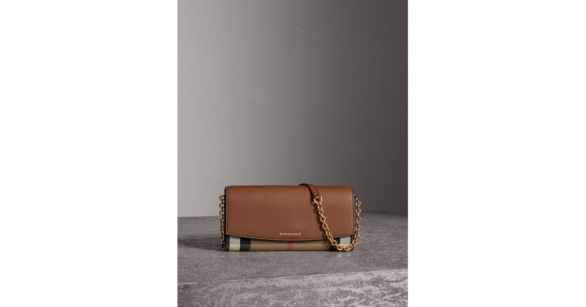 00e5c9be2aa4 Lyst - Burberry House Check And Leather Wallet With Chain Tan in Brown
