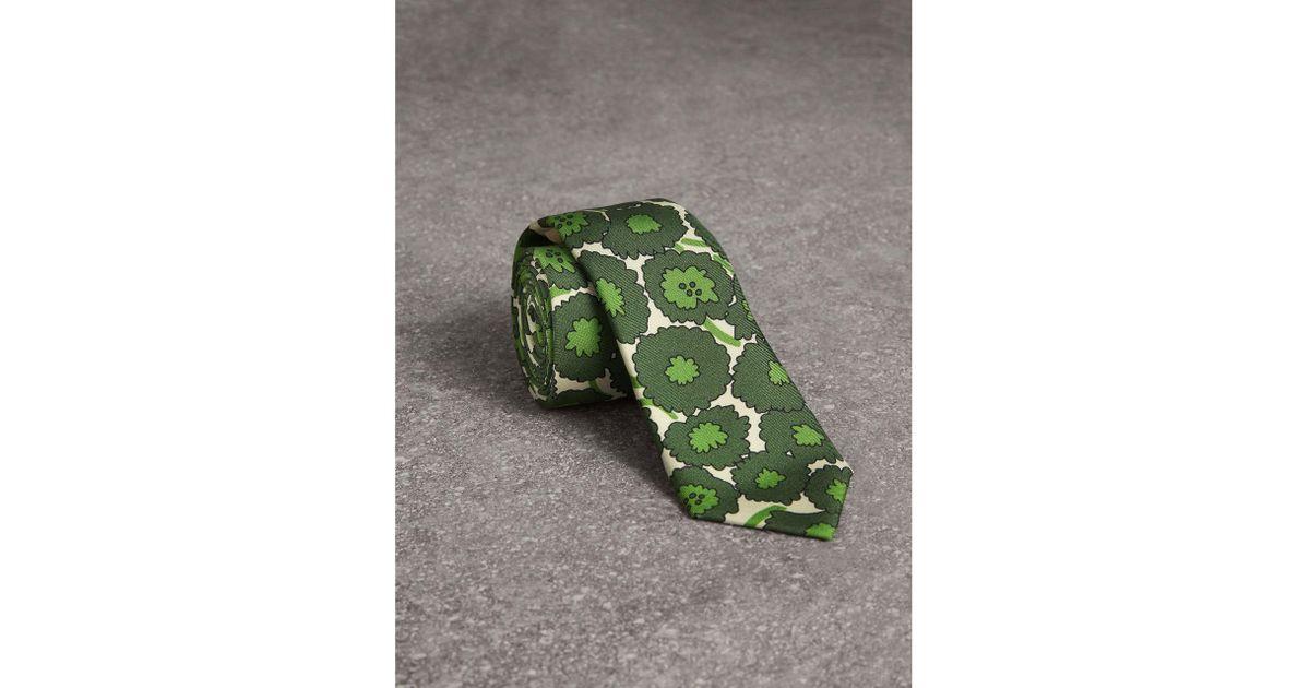 Slim Cut Abstract Floral Print Silk Tie - Green Burberry 5Tc1h