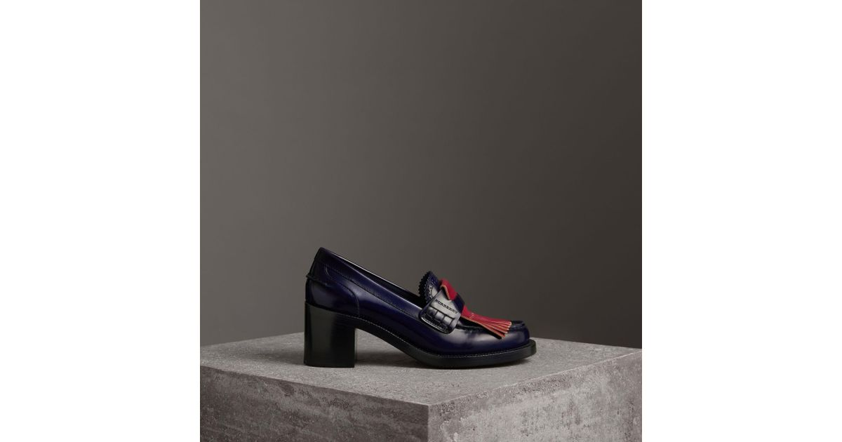 d2b7ddea464e Burberry Contrast Kiltie Fringe Leather Block-heel Loafers in Blue - Lyst