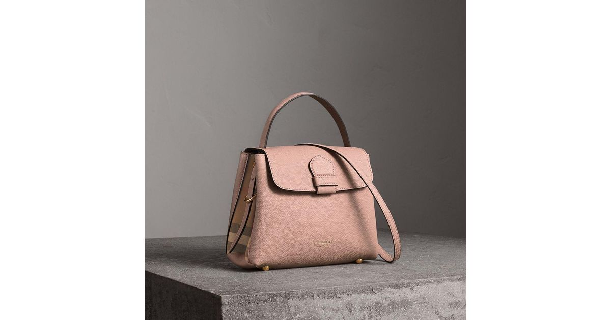 e9564532976 Burberry Small Grainy Leather And House Check Tote Bag in Brown - Lyst
