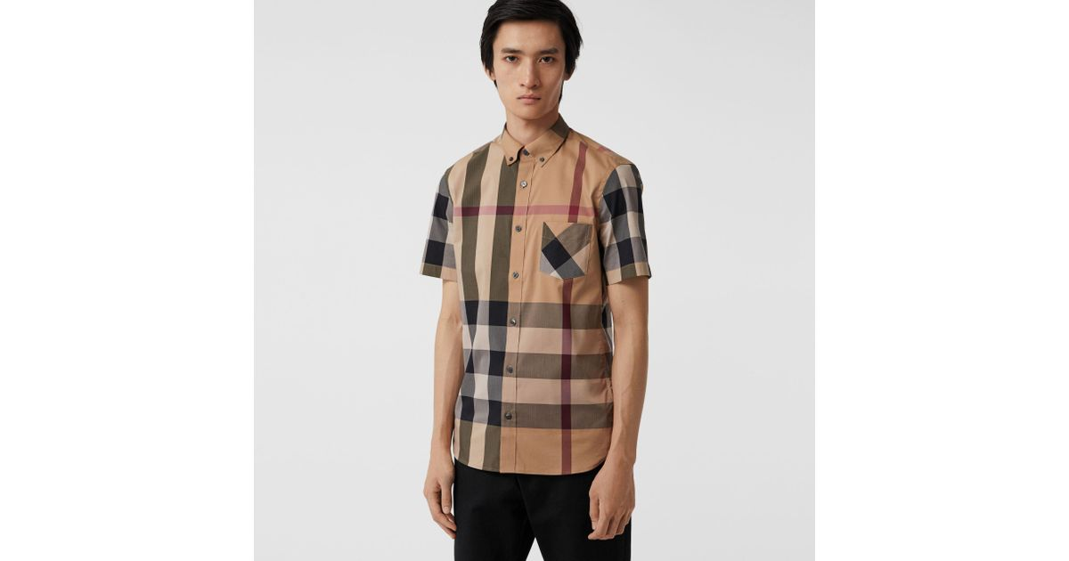 Burberry Short-sleeve Check Stretch Cotton Blend Shirt Camel in Natural for  Men - Lyst 1c163374ae