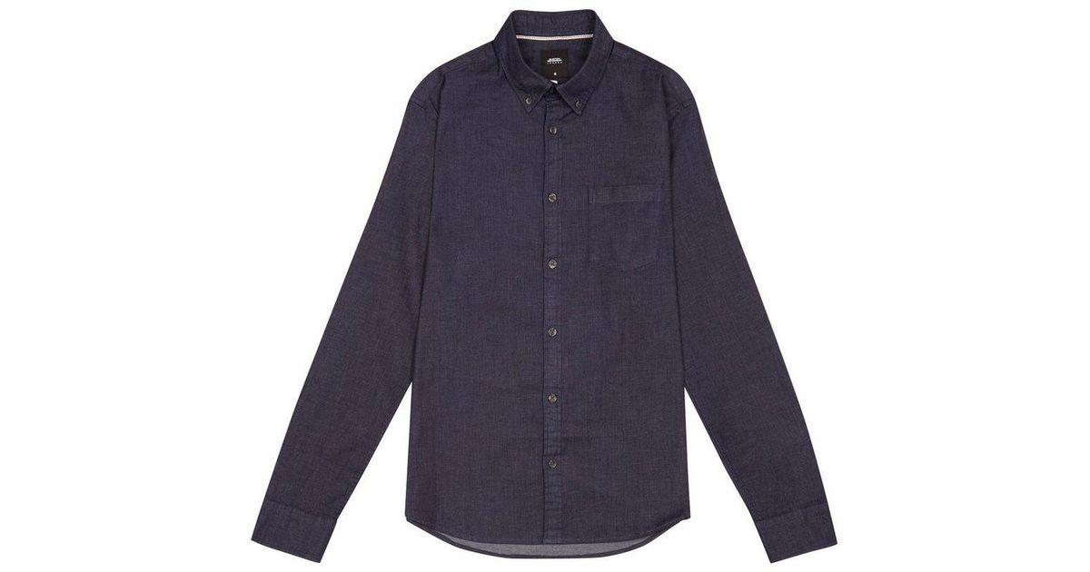 9f786fd5a3f Burton Dark Wash Long Sleeve Smart Stretch Denim Shirt in Blue for Men -  Lyst
