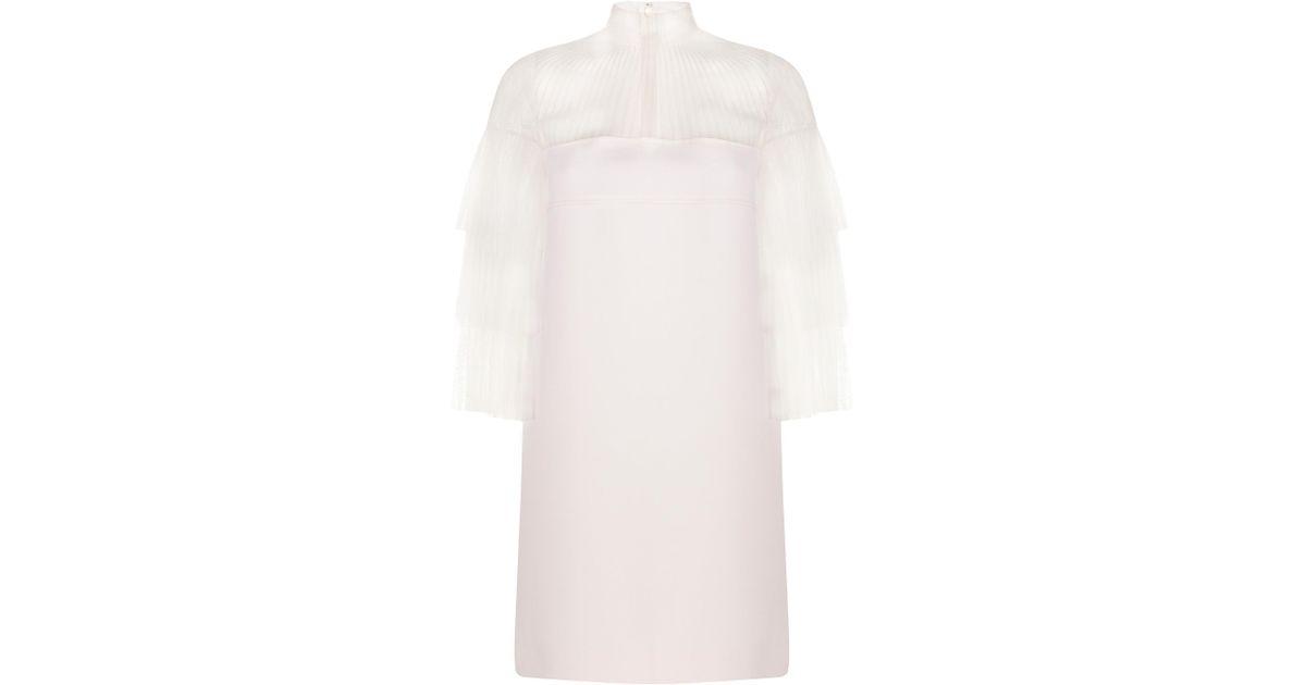 Women's White Layered Tulle Mini Dress
