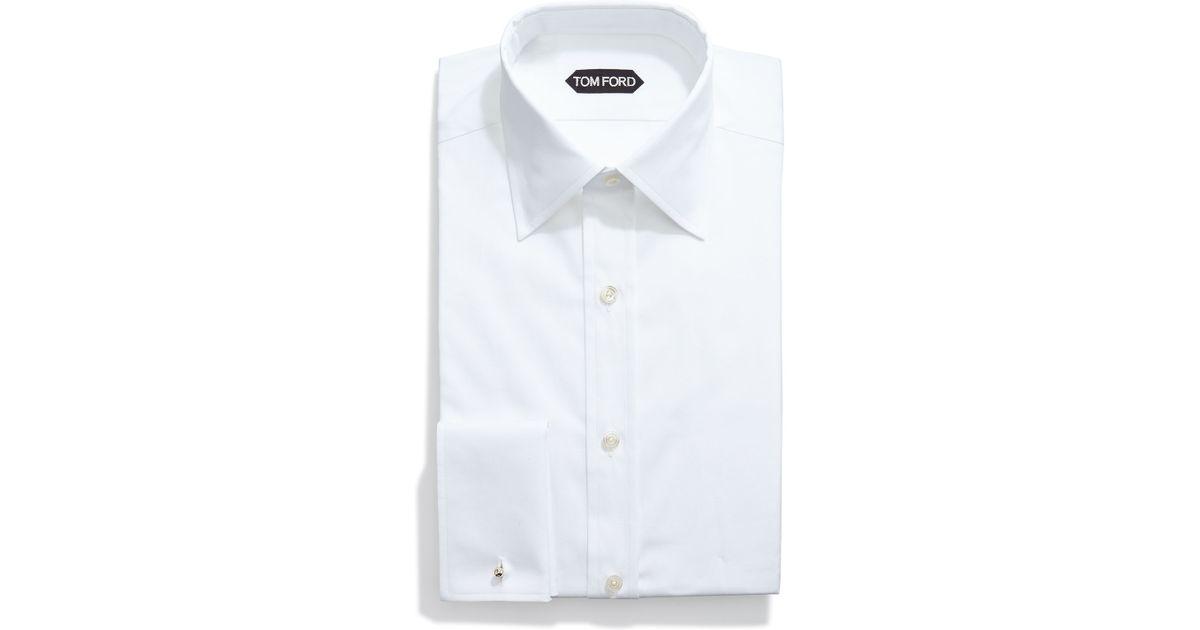 Tom ford basic french cuff dress shirt in white for men lyst for French cuff dress shirts for sale