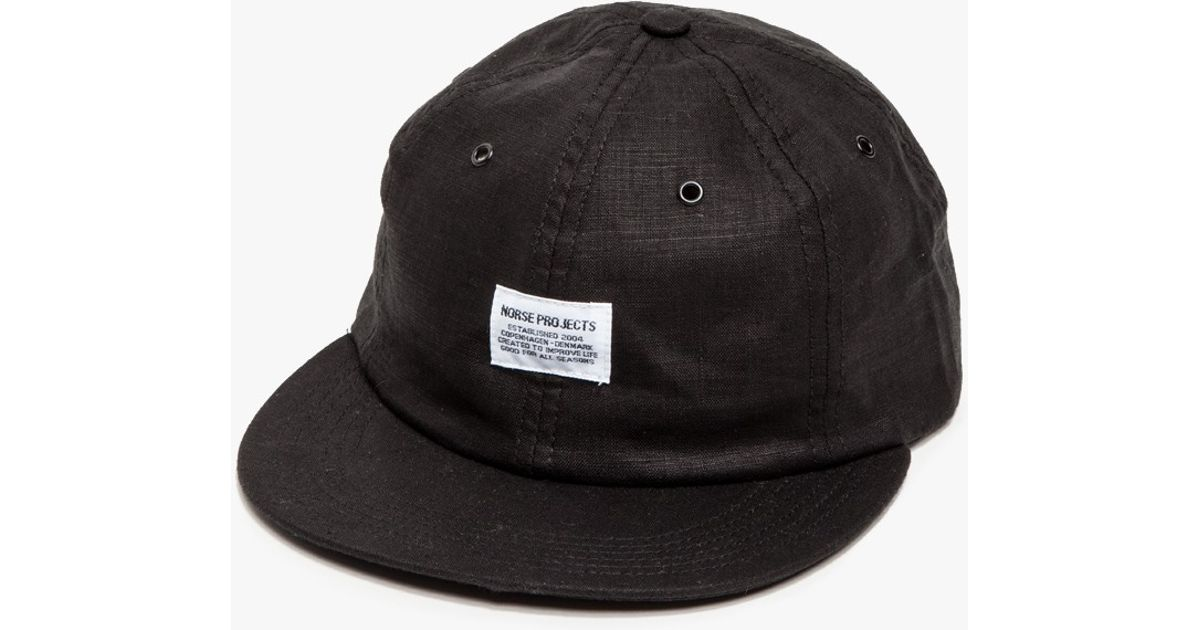 3361ac30b6 Norse Projects Linen 6 Panel Cap in Black for Men - Lyst
