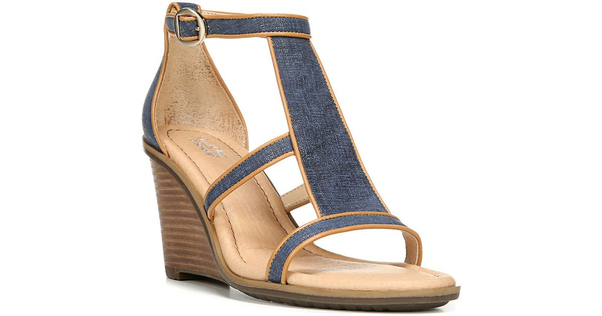 Dr Scholls Original Collection Denim Jacobs Wedge Sandals
