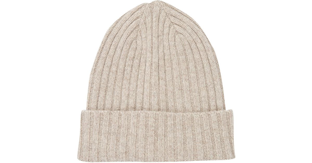 0f68b9efaa6 Drake s Men s Rib-knit Beanie in Natural for Men - Lyst