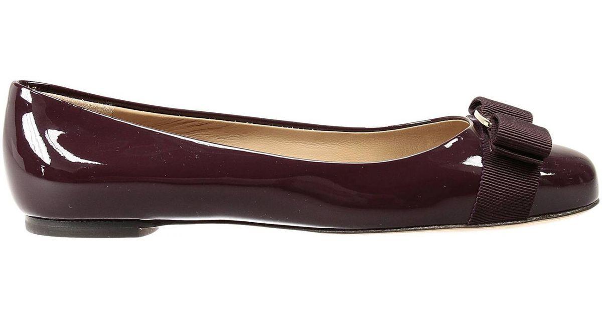 868bb9bfbda Lyst - Ferragamo Flat Shoes Varina Ballet Patent in Purple