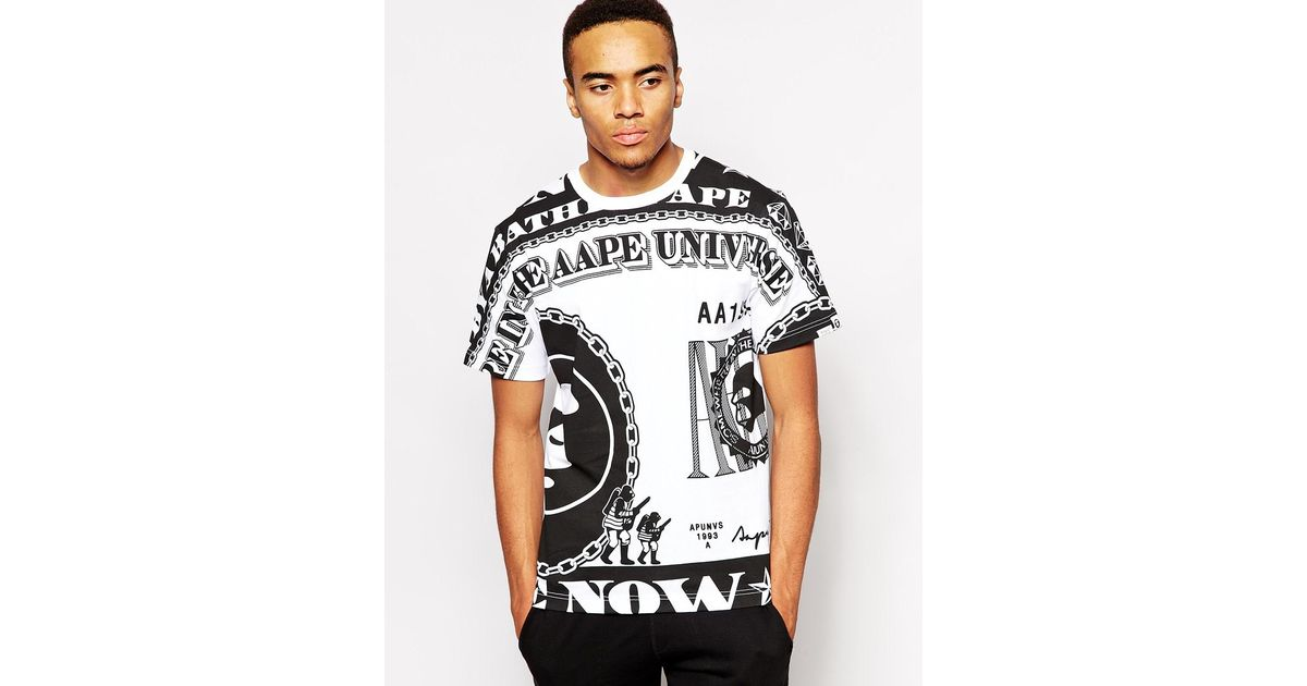 e25ff36e0c0 Lyst - Aape By A Bathing Ape T-Shirt With Dollar Bill Print in Black for Men