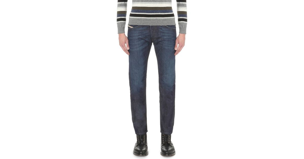 552fada0 DIESEL Belther 0844c Slim-fit Tapered Jeans in Blue for Men - Lyst