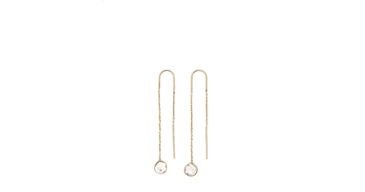 Lyst Rebecca taylor Vale Diamond Slice Chain Earrings in Metallic