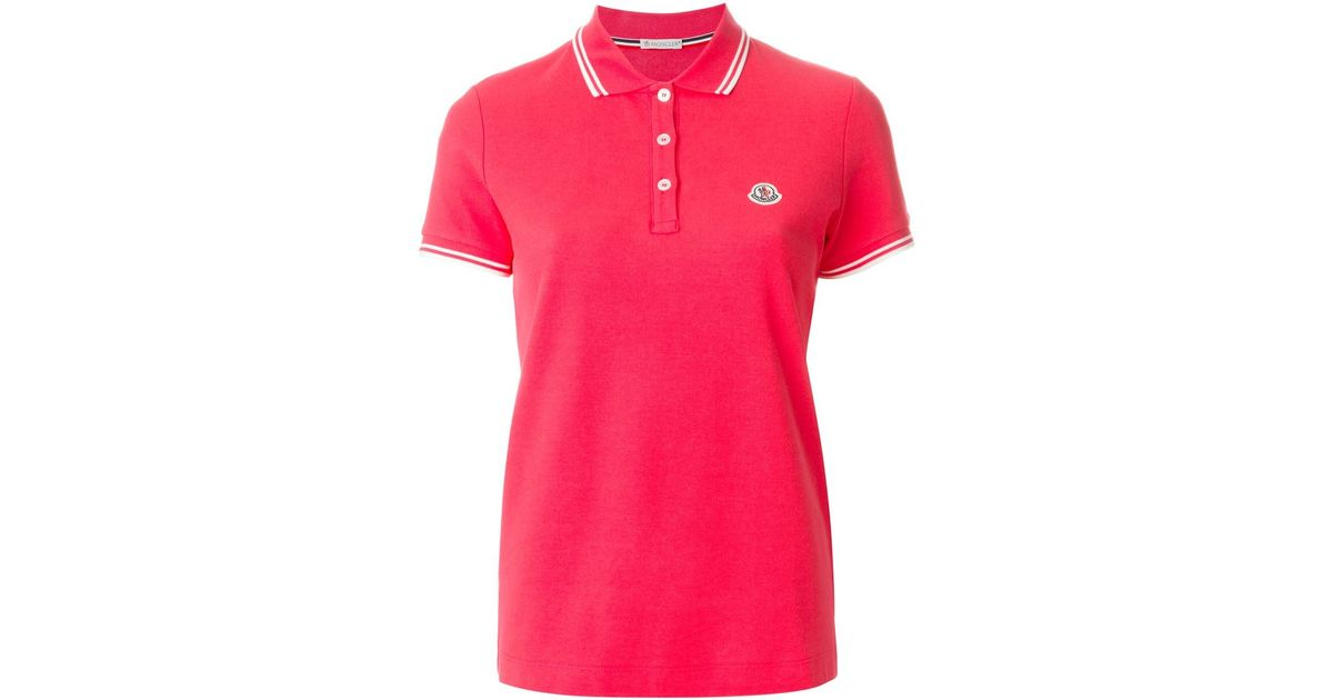 Lyst Moncler Piped Collar Polo Shirt In Pink