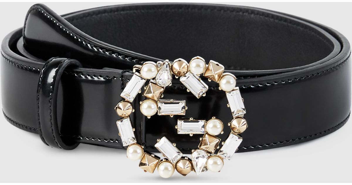 cc14be7817b Lyst - Gucci Leather Belt With Pearl And Crystal Interlocking G Buckle in  White