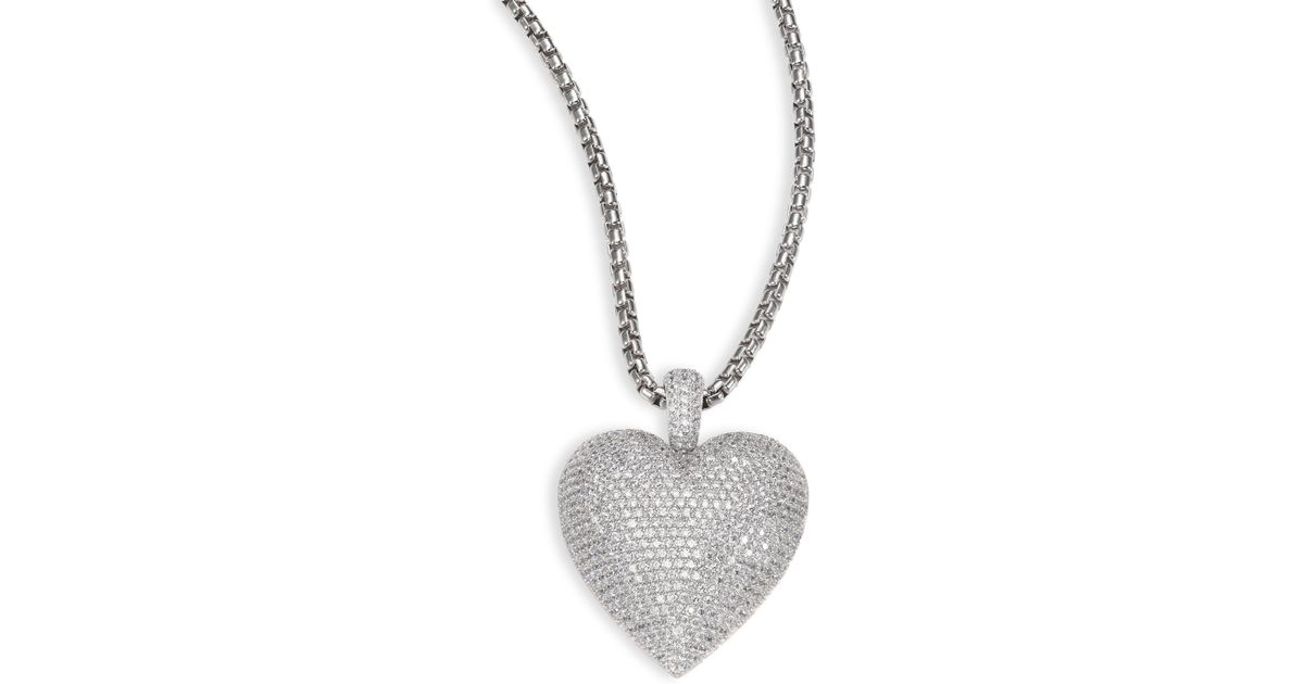 Lyst adriana orsini large pave heart pendant necklace in metallic mozeypictures Gallery