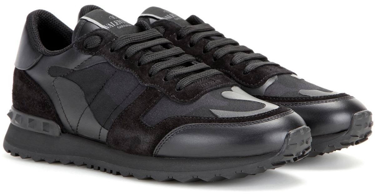 valentino rockrunner camouflage leather sneakers in black lyst. Black Bedroom Furniture Sets. Home Design Ideas