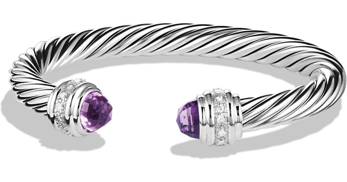 Lyst David Yurman Cable Clics Bracelet With Amethyst Diamonds In Metallic