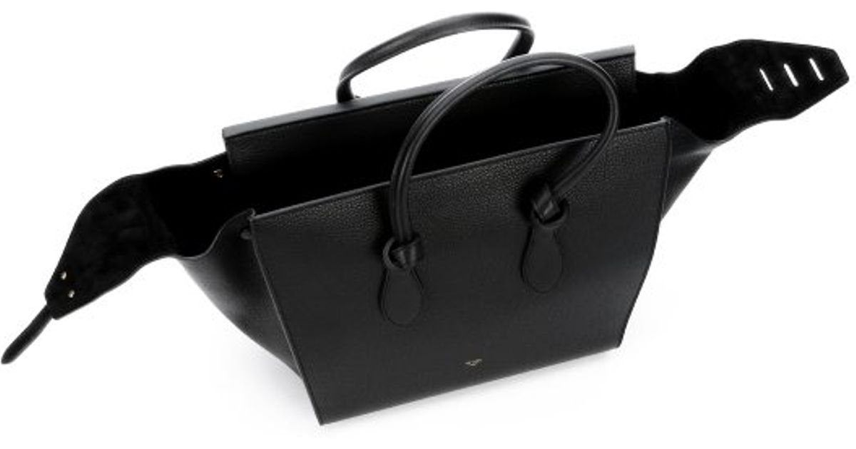 C¨¦line Black Leather Tie Knot Tote Bag in Black | Lyst