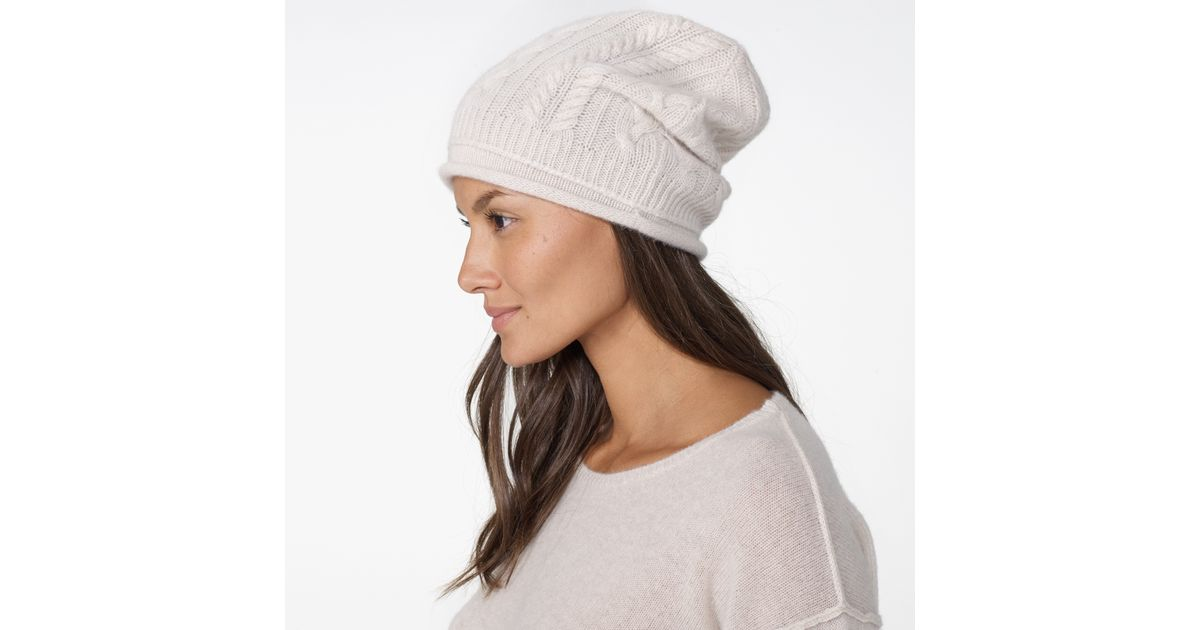 Lyst - James Perse Cashmere Cable Knit Beanie in Natural fd0bde4e951
