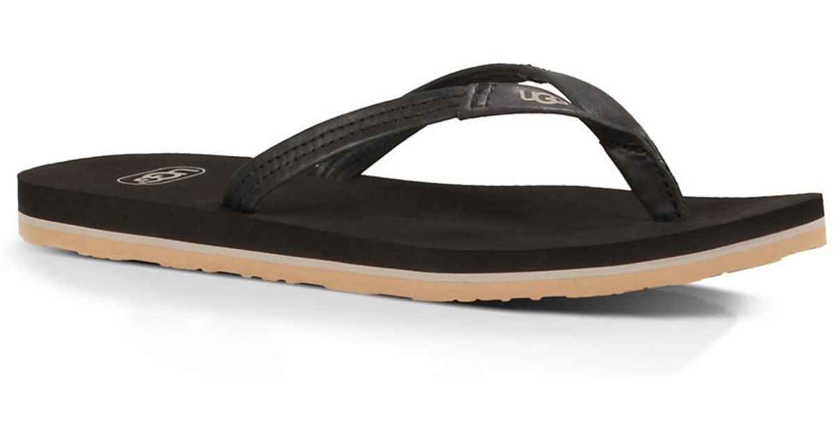 cd132716454df1 Lyst - Ugg Magnolia Leather Thong Sandals in Black
