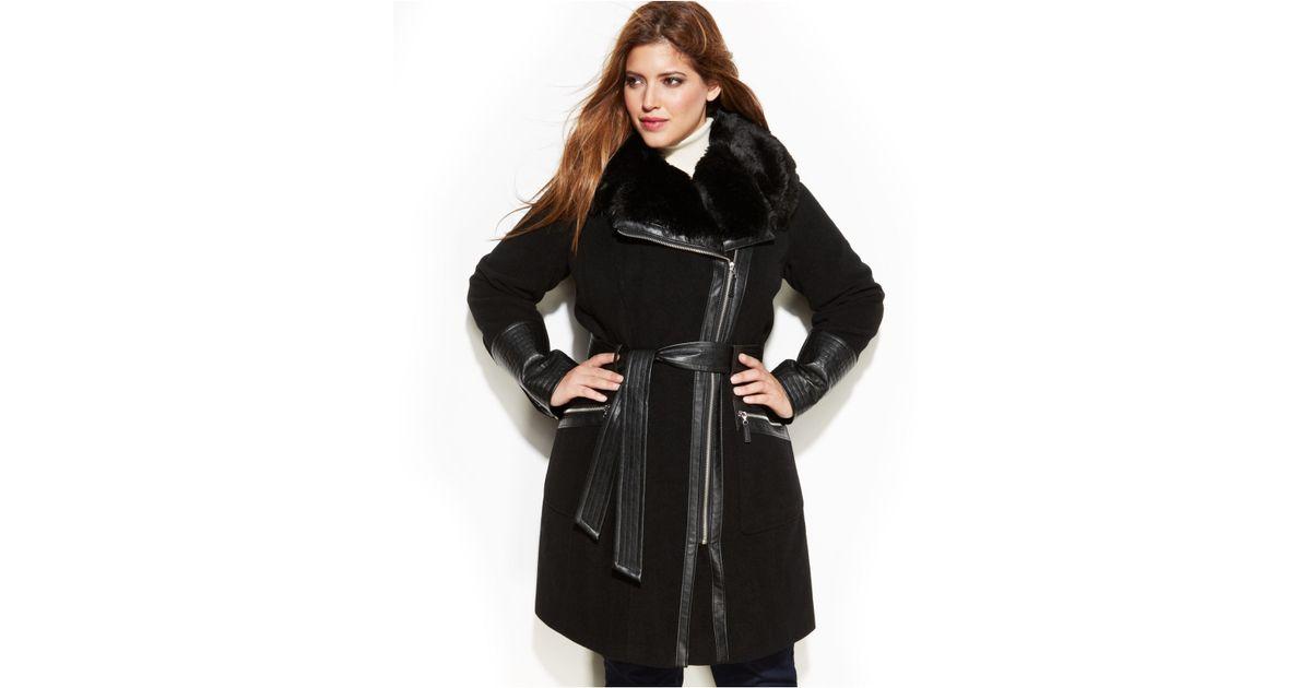 ceeceeccf53 Lyst - Via Spiga Plus Size Mixed Media Faux-Fur-Trim Belted Wool Coat in  Black