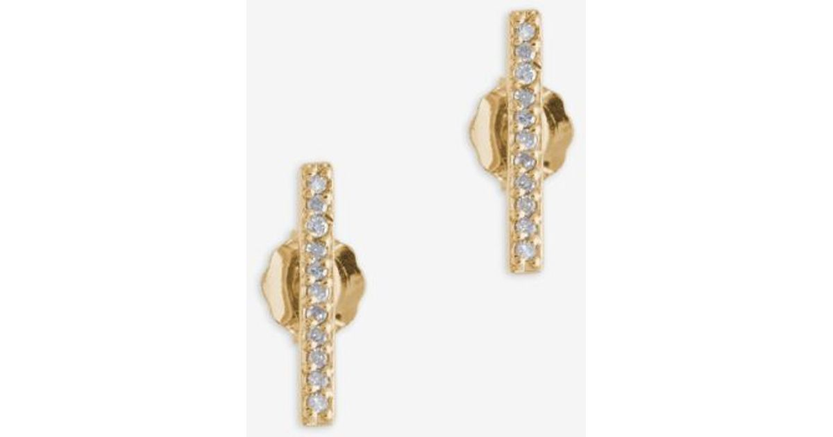 Adina reyter Pave Diamond Bar Earring in Metallic