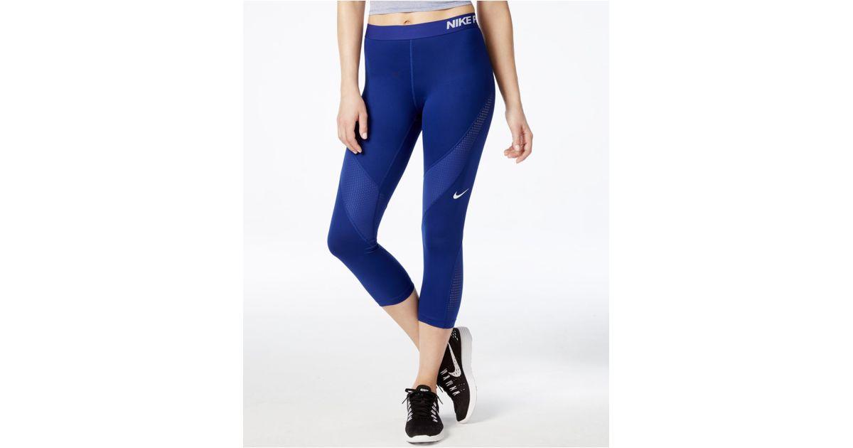 6d9efb409259a1 Nike Pro Hypercool Dri-fit Capri Leggings in Blue - Lyst