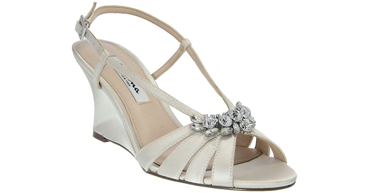 viani satin wedge sandals in white ivory lyst