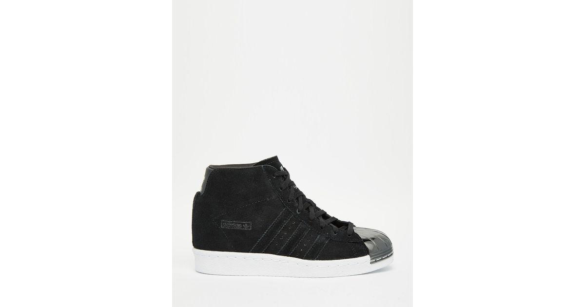 c621d9c50a965 adidas Originals Originals Black Suede Superstar Up Metal Toe Cap Trainers  in Metallic - Lyst