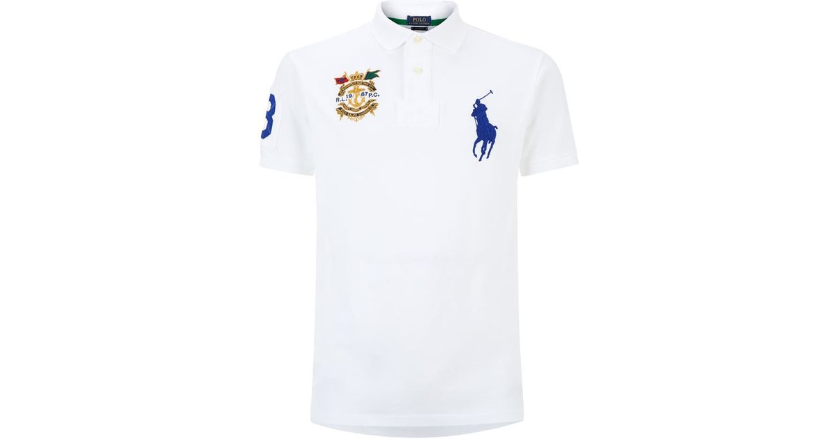 Polo Ralph Lauren Custom Fit Large Pony Crest Polo Shirt In White