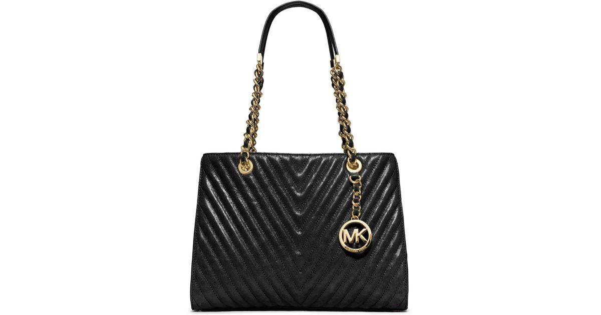 b43ec50dbb46f2 MICHAEL Michael Kors Susannah Medium Quilted Chevron Tote Bag in Black -  Lyst
