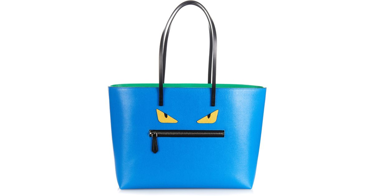 dabbc2a6824f Lyst - Fendi Roll Leather Tote in Blue