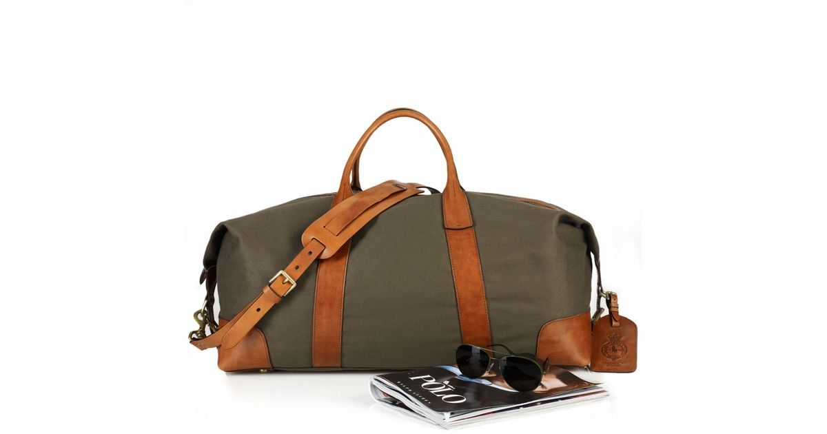 ... denmark lyst polo ralph lauren canvas leather duffel bag in green for  men c3262 cd50d 574cdc0d4354a