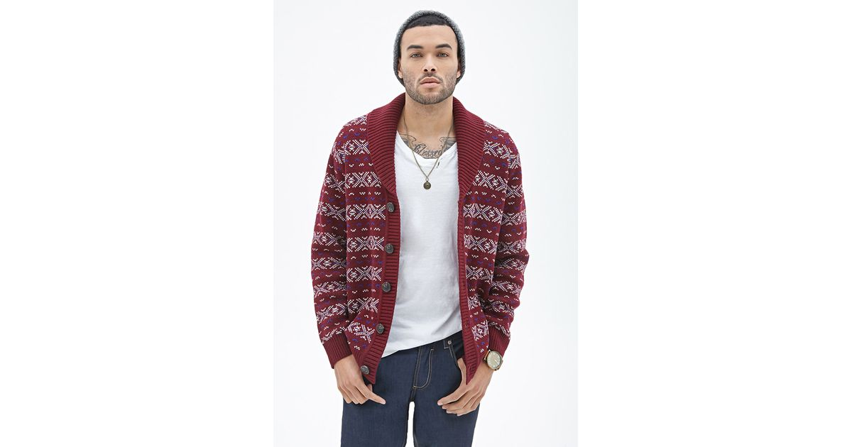 Lyst - Forever 21 Fair Isle Shawl Cardigan in Purple for Men