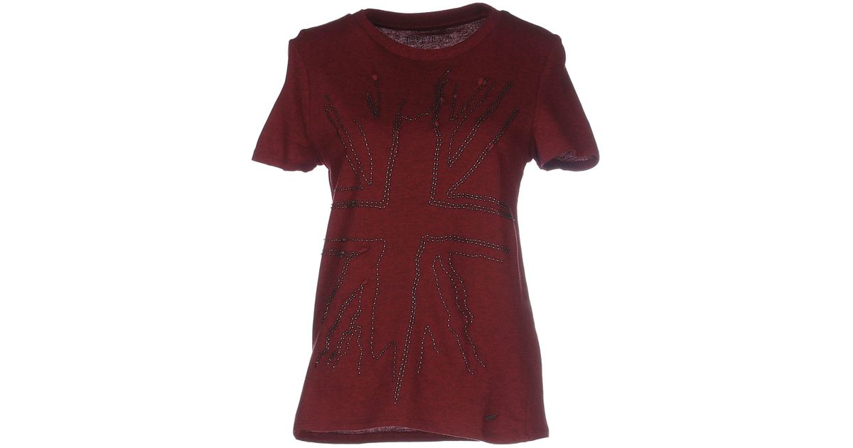 pepe jeans t shirt in red lyst. Black Bedroom Furniture Sets. Home Design Ideas