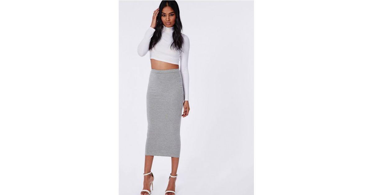 4993e8132 Lyst - Missguided Longline Jersey Midi Skirt Grey in Gray