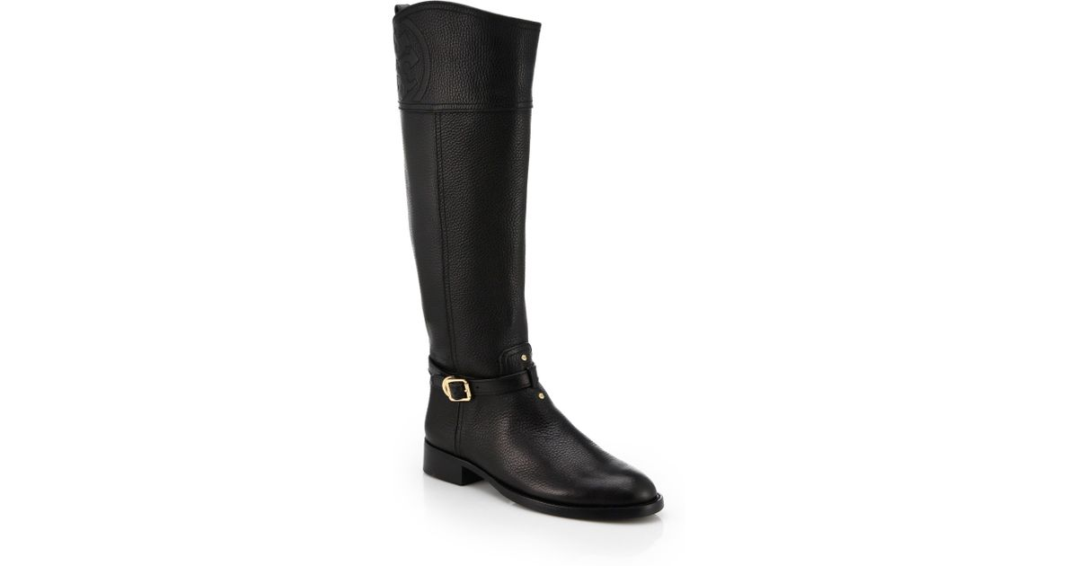 8c2d18cfbe1 Lyst - Tory Burch Marlene Leather Riding Boots in Black