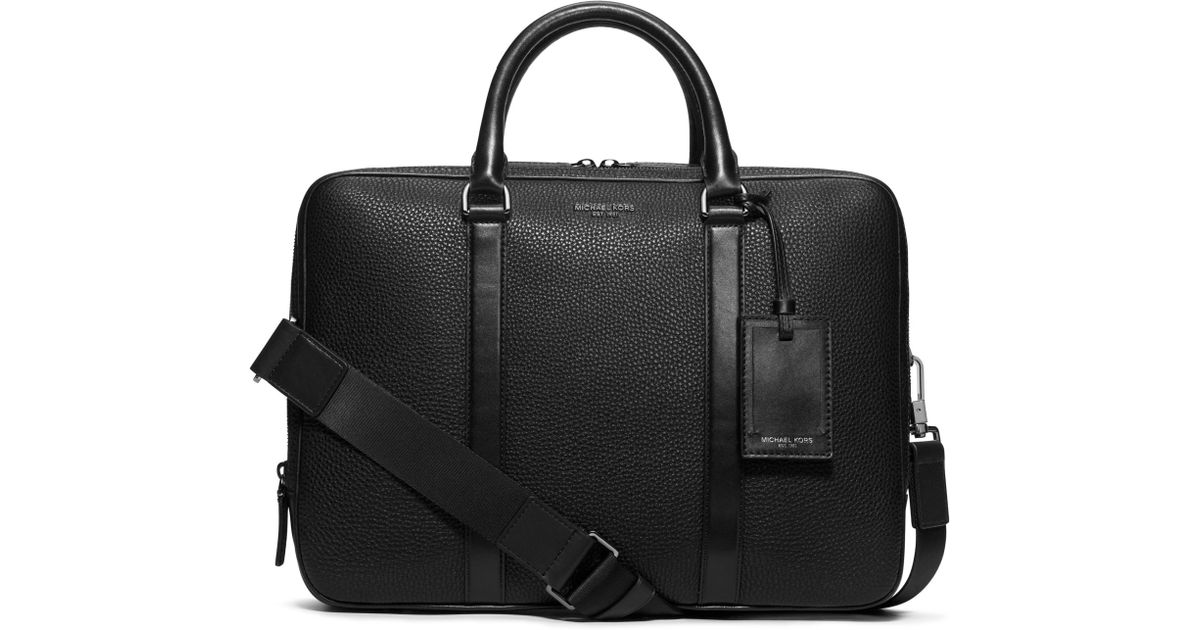 b356e711086c Michael Kors Bryant Large Leather Briefcase in Black for Men - Lyst