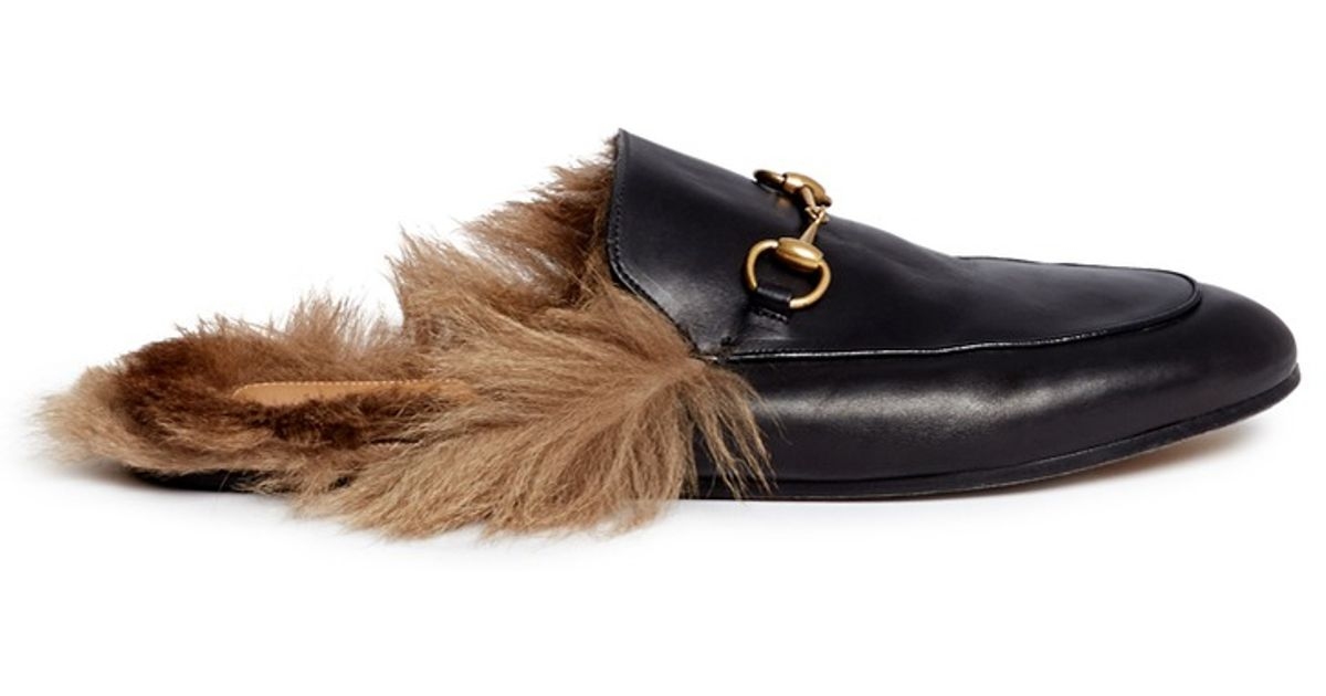 9f310a8a6c4 Lyst - Gucci Fur Lined Leather Loafer Slides in Black