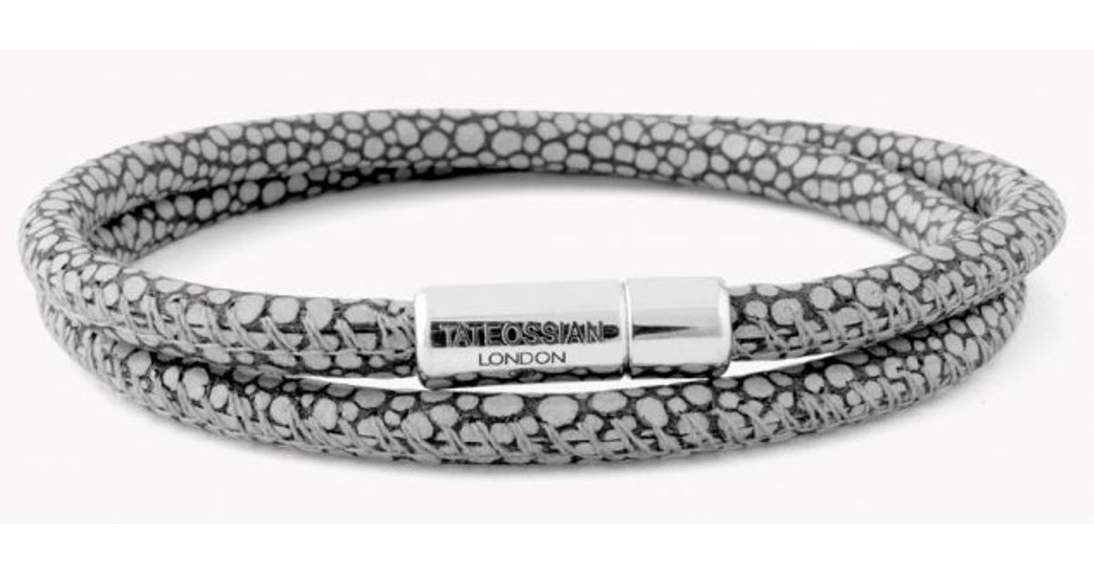 Lyst Tateossian Double Wrap Scoubidou Grey Stingray Bracelet With Silver Clasp In Gray For Men